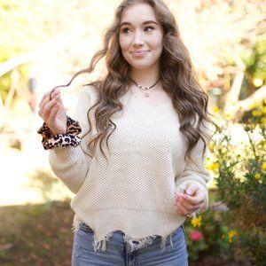 Raw Hem Ivory Sweater